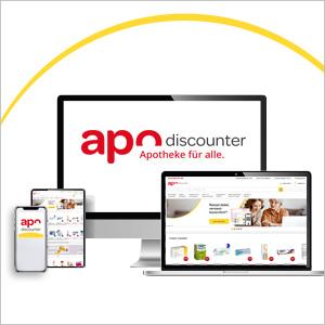 Verschiedene Mobilgeräte mit der apo-discounter.de App