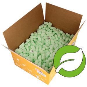 Ein Karton von apo-discounter.de, welcher mit Verpackungschips gefüllt ist