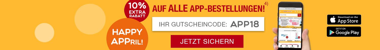 Hand hält Smartphone mit apo-discounter.de App