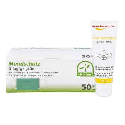 Mundschutz Maske und Hände-Desinfektionsgel  bei apo-discounter.de bestellen