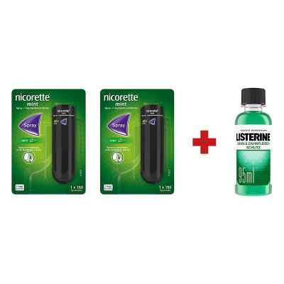 2 x Nicorette Spray +Listerine Zahn-& Zahnfleisch Schutz Lösung   bei apo-discounter.de bestellen